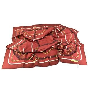 "CARTIER ""Must de"" Burgundy Logo Silk Scarf (mu)"